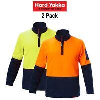 Mens Hard Yakka Work Jumper Hi-Vis 2 Pack Brushed Fleece 1/4 Zip Winter Y19330