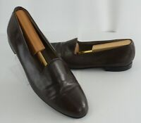 Mens Carlo Morandi Brown Leather Slip On Loafer Shoes Size 9.5 US Spain
