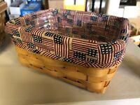 Longaberger Address Basket With Old Glory Flag Liner & Protector Combo Rectangle