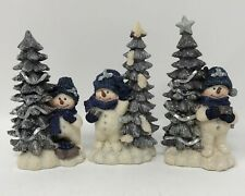 Home Interiors Snowman & Trees Christmas Figurines Silver/Blue Sparkling Glitter