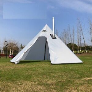 Camping Pyramid Tent 2.2m Backpacking Outdoor Awnings Cooking Shelter 4-5 Person