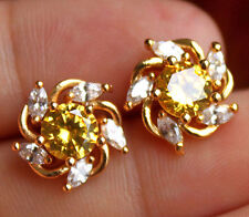 18K Yellow Gold Filled- Windmill Citrine Topaz Gemstone Lady Stud Party Earrings