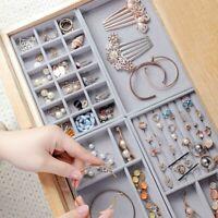 Velvet Ring Box Tray Jewellery Organiser Storage Necklace Display Case Holder