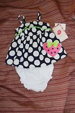 NWT Girls 3-6M SWEET HEART ROSE Strawberry Blue Dress bloomers Outfit