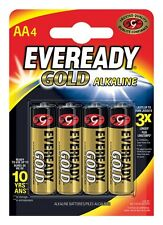 4 x Eveready Or AA Alcaline Forte Puissance Piles LR6 Size 1.5 Volt Duracell
