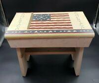 Vintage Primitive Americana Painted WOOD Milking BENCH Rustic STEP STOOL US Flag