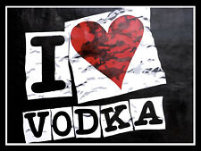 "I Heart Vodka, Retro metal Sign/Plaque, Gift 10"" x 8"" Large"