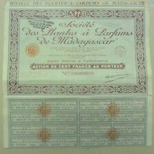 Postal-sociedad de las plantas a Aromas Madagascar, acción la 100 Francos 1927
