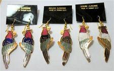 Cloisonne Enamel Macaw Gold Tone Earrings (1 pair)