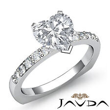 Heart Diamond Engagement European Shank Pave Ring GIA H Color SI1 Platinum 1.2ct