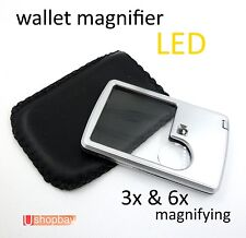 Ultra-Thin Credit Card Magnifying LED Light Loupe Jewelry  Wallet Magnifier 3x 6