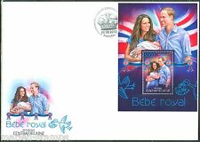 CENTRAL AFRICA  2013  BIRTH OF PRINCE GEORGE WITH PRINCE WILLIAM KATE S/S  FDC