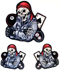 Dilligaf esqueleto Ace 8 Bola Motociclista Motocicleta Scooter 3 Set Tipo Pegatina Calcomanía