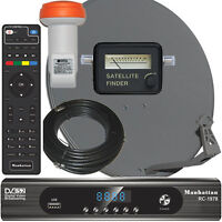 Complete HD FTA Satellite System Manhattan RC-1978 HD Receiver LNB Dish Meter