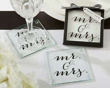 40 x Classic Mr. and Mrs. Glass Coasters Set of  2 Wedding/Engagement Favours