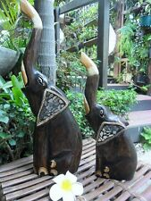 Bali Carved Elephants x 2 piece set  30cm & 40cm