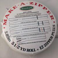 """Make-A-Zipper White 4.5 Yards Roll 162"""" 12 Zipper Pulls Invisible Zipper"""