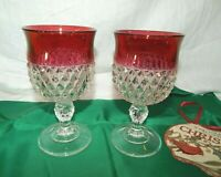 2 INDIANA GLASS DIAMOND POINT RUBY RED FLASH WINE/WATER STEMMED GOBLETS 12 OZ