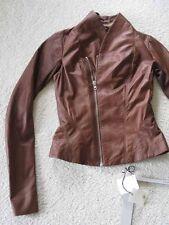 Rick Owens Textured Caramel Lambskin Princess Biker Zip Jacket 42 8 Shawl Collar