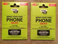 TWO (2) STRAIGHT TALK CDMA AND AT&T SIM CARD ACTIVATION KITS NANO-STANDARD-MICRO