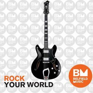 Hagstrom Viking Deluxe Electric Guitar Semi-Hollow 12-String Black w/ Hardcase