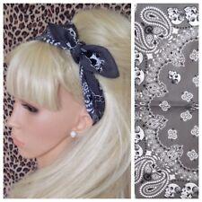 Nouveau Gris Blanc Crâne en coton imprimé bandana tête cheveux Foulard Rockabilly PIN UP