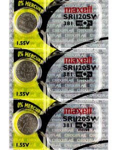 3 x Maxell 381 Watch Batteries, SR1120SW Battery   Shipped from Canada