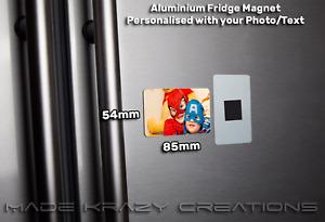 Personalised Photo Fridge Magnet metal 85mm x 54mm