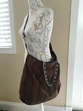TammiLyn XLARGE Python Tote Shopper Brown Black Trim Chainlink Strap Handbag Bag