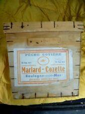 Antike Dose Holz 10 Kgs Hering Salés Marlard-Cozette Angeln Boulogne-Sur-Mer