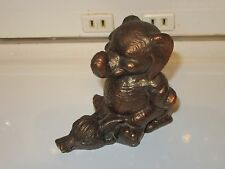Vintage Cast Metal Elephant Sitting on Duck Figurine - Copper Finish