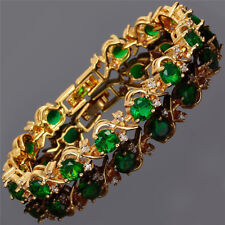 New Rhinestone Glass Round Cut Green Emerald Tennis Statement Fashion Bracelet