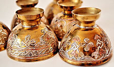 Coffee Set of 6 Cups /Inlaid Silver& Copper on Brass/ Handcrafted/ Middle-East