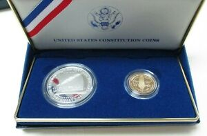 1987 US Mint Constitution Coins Proof Silver Dollar & Gold Five Dollar