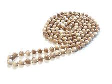 Bijou collier sautoir perles de verre teintées marron marbré