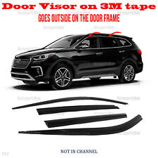 2S Tape Smoke Door Window Vent Visor Deflector 4pcs 2013-2018 Santa Fe XL 7seat