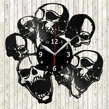 Skull Vinyl Record Wall Clock Decor Handmade 2583