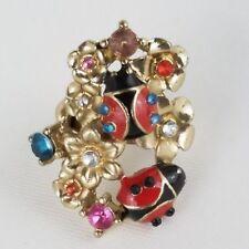 Ladybug Chunky Flower Floral Ring, Large, Gold Tone, Size 7