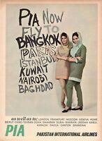 1967 Original Advertising' Pia Pakistan International Airlines 2 Beauties Color