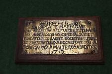 PLAQUE  DE  CREATION   DE 4  LOGES   MACONNIQUE   PAR  AUGUSTIN  BEUFVIER   1762