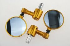 "3"" ROUND FOLDABLE BAR END MIRRORS FOR HONDA CBR 250 500 600 1000 RR F3 F4i GOLD"