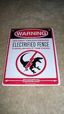 LOOT CRATE EXCLUSIVE JURASSIC PARK ELECTRIFIED FENCE METAL SIGN - FREE SHIP