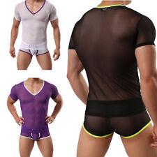 Herren Unterhemd Top Netz Shirt T-shirt Unterwäsche Transparent Muskelshirt Tops