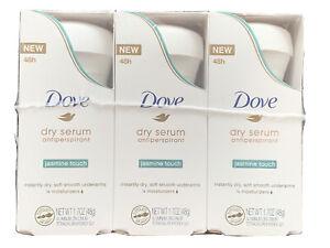 Lot of 3 Dove Dry Serum Antiperspirant Deodorant, Jasmine Touch, 1.7OZ Exp 01-21