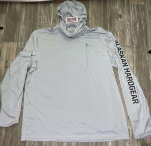 Duluth Alaskan Hardgear Gray Mens L Long Sleeve Fishing Hoodie Sun Shirt