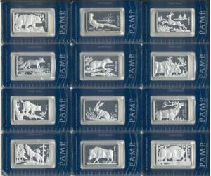 PAMP 2011 Poland Animals Complete Collection 12 x 1 Oz .999 SILVER Sealed Bars