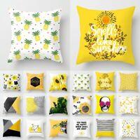 "18"" Yellow Polyester Pillow Case Sofa Car Waist Throw Cushion Cover Home Decor"