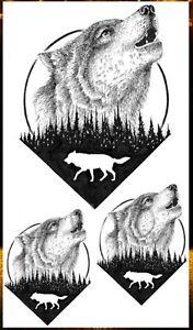 Temporäres Tattoo Wolf SET Wald Forest Wasserfest Einmal Tier Tiere Baum