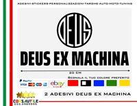 2X ADESIVO DEUS EX MACHINA LOGO + SCRITTA L. 20CM VINILE STICKERS PVC SPAZIATO