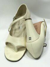 CHnel CC Logo OPEN TOE PUMPS 38 C TANGO Ivory Cream Leather Maryjane Thong 7 7.5